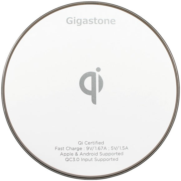 Gigastone GS-GA-9600W-R GA-9600 Qi Certified Fast Wireless Charger (White)