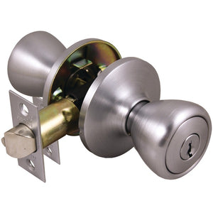 Guard Security 1990S Entry Tubular, Re-Keyable Lockset with Adjustable Latch (Satin Chrome)
