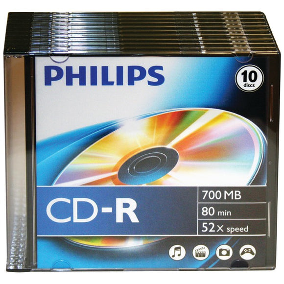 Philips(r) Philips(R) CDR80D52N 300 700MB 80 Minute 52x CD Rs with Slim Jewel Cases, 10 pk