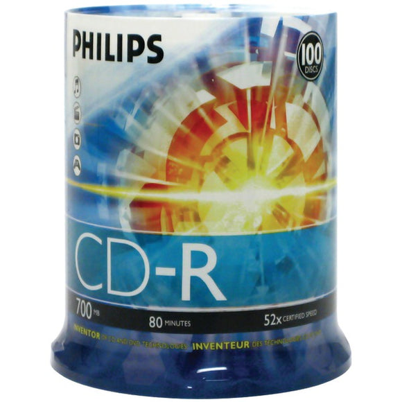 Philips(r) Philips(R) CDR80D52N 650 700MB 80 Minute 52x CD Rs (100 ct Cake Box Spindle)