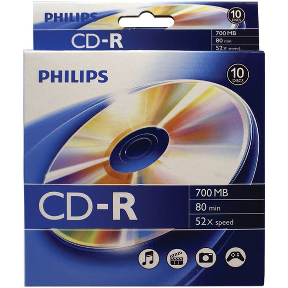 Philips(r) Philips(R) CR7D5BB10 17 700MB 80 Minute CD Rs, 10 ct Peggable Box