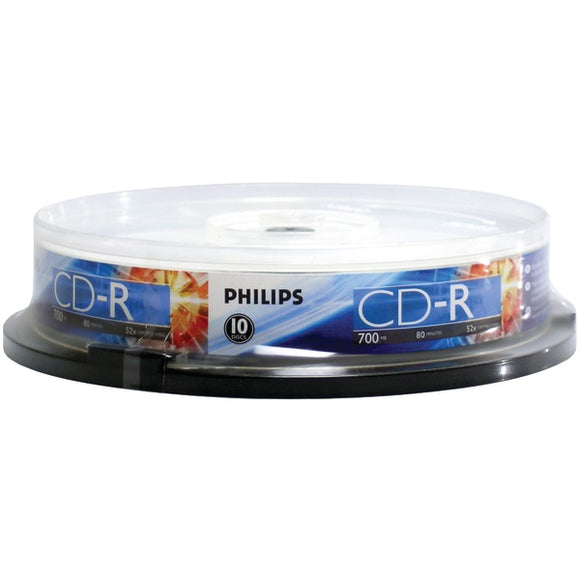 Philips(r) Philips(R) CR7D5NP10 17 700MB 80 Minute 52x CD Rs (10 ct Cake Box Spindle)