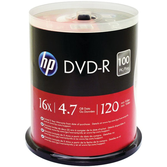 HP(R) DM16100CB 4.7GB DVD-Rs, 100-ct Spindle
