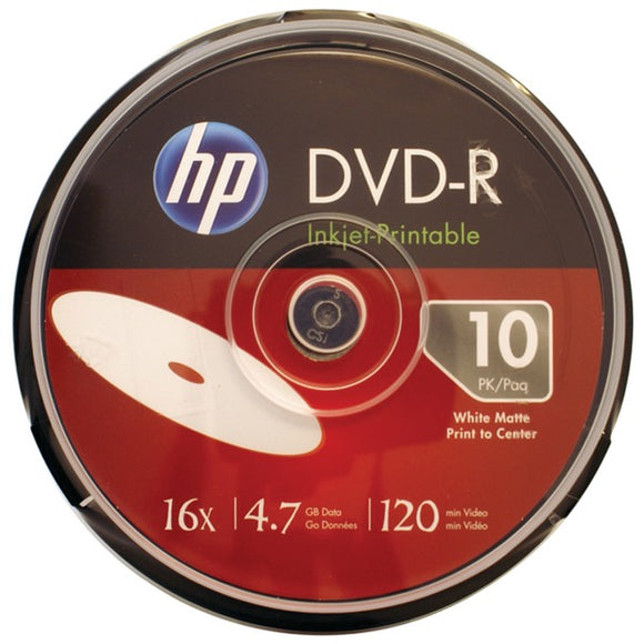 HP(R) DM16WJH010CB 4.7GB 16x Printable DVD-Rs, 10-ct Spindle