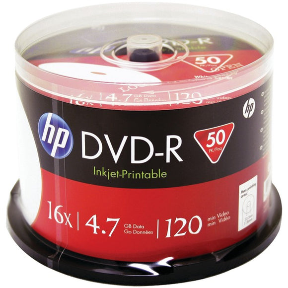 HP(R) DM16WJH050CB 4.7GB Printable DVD-Rs, 50-ct Spindle