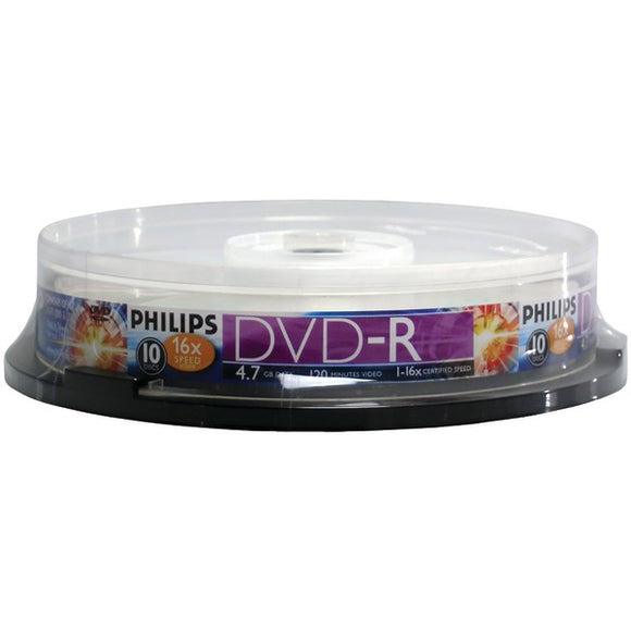 Philips(r) Philips(R) DM4S6B10F 17 4.7GB 16x DVD Rs (10 ct Cake Box Spindle)