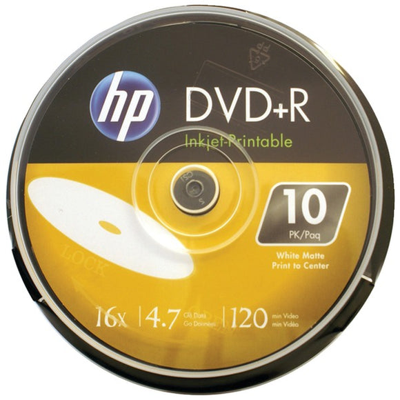HP(R) DR16WIJH010CB 4.7GB 16x Printable DVD+Rs, 10-ct Cake Box Spindle