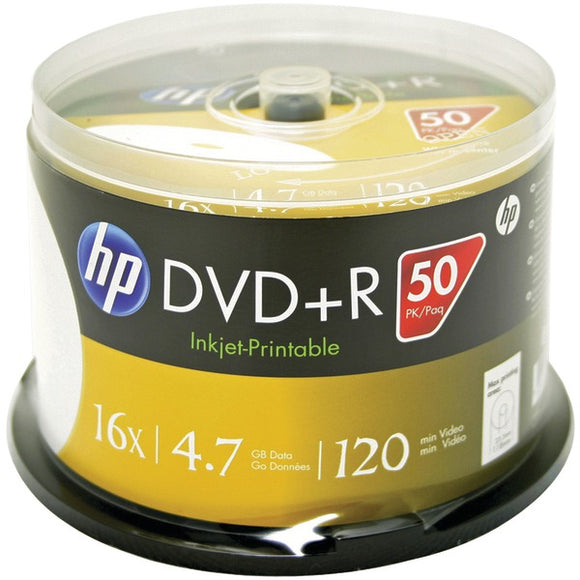 HP(R) DR16WJH050CB 4.7GB Printable DVD+Rs, 50-ct Spindle
