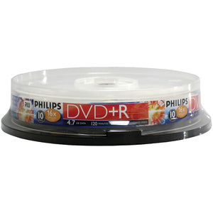Philips(r) Philips(R) DR4S6B10F 17 4.7GB 16x DVD+Rs (10 ct Cake Box Spindle)