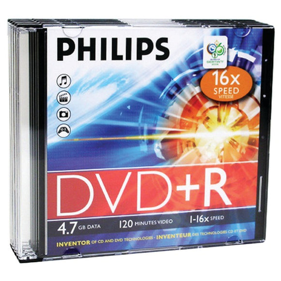 Philips(r) Philips(R) DR4S6S05F 17 4.7GB 16x DVD+Rs with Slim Jewel Cases, 5 pk