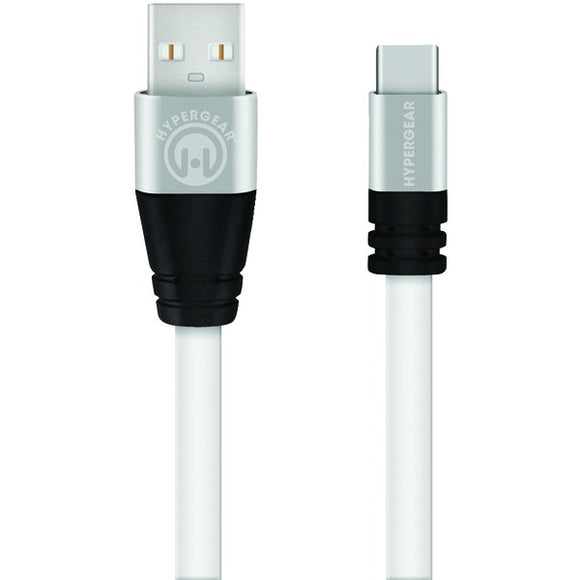 HyperGear 13891 Flexi Charge & Sync Flat USB-A to USB-C Cable, 6ft (White)