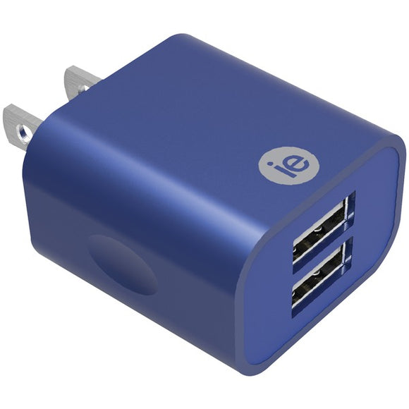 2.4-Amp Dual USB Wall Charger (Blue)