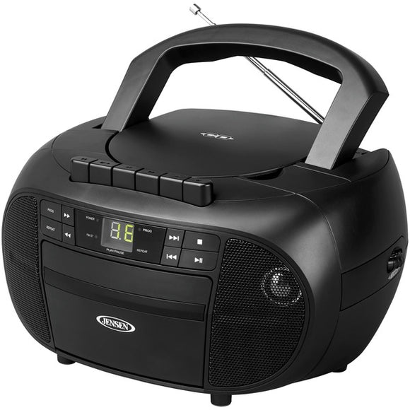 JENSEN CD-550 Portable Stereo Cassette Recorder & CD Player with AM-FM Radio