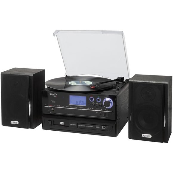 JENSEN JTA-990 3-Speed Stereo Turntable CD Recording System with Cassette Player, AM-FM Stereo Radio & MP3 Encoding