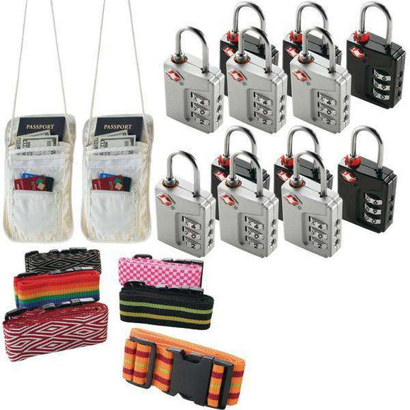 None Travel Accessories Kit With Security Straps, Locks And Pouches
