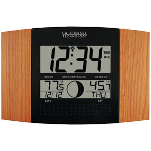 La Crosse Technology(R) WS-8117U-IT-OAK Digital Atomic Clock (Outdoor Temperature; Oak Wood Finish)