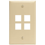Leviton 41080-4IP 4-Port QuickPort Wall Plate (Ivory)