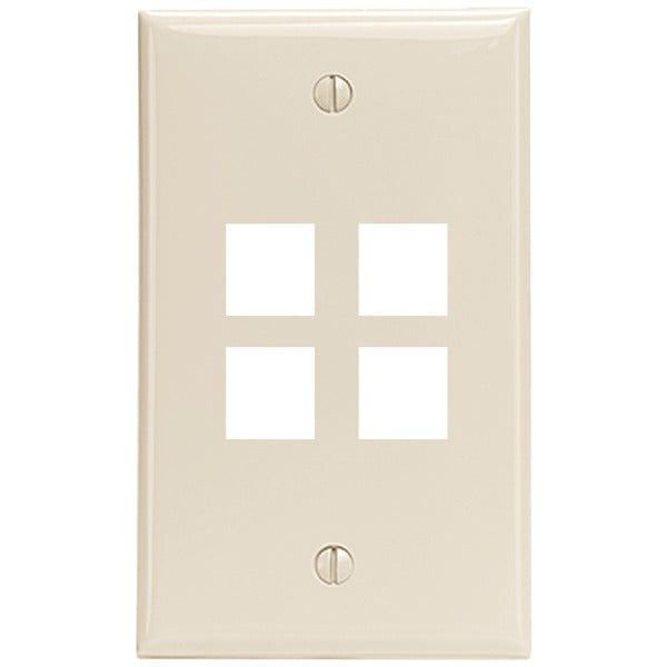 Leviton 41080-4TP 4-Port QuickPort Wall Plate (Light Almond)