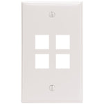 Leviton 41080-4WP 4-Port QuickPort Wall Plate (White)