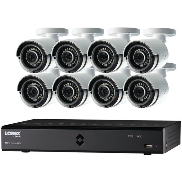Lorex LHA21162TC8B 16-Channel MPX 1080p HD 2TB DVR with 8 Weatherproof IR Cameras