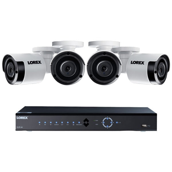 Lorex LNK71082T45B 8-Channel 4K 2TB PoE NVR with 4 5.0-Megapixel Color Night Vision Indoor-Outdoor Security Cameras