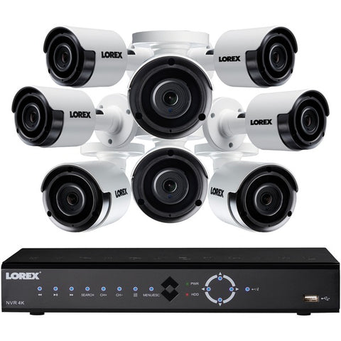 Lorex LNK71082T85B 8-Channel 4K 2TB PoE NVR with 8 5-Megapixel Color Night Vision Indoor-Outdoor Security Cameras