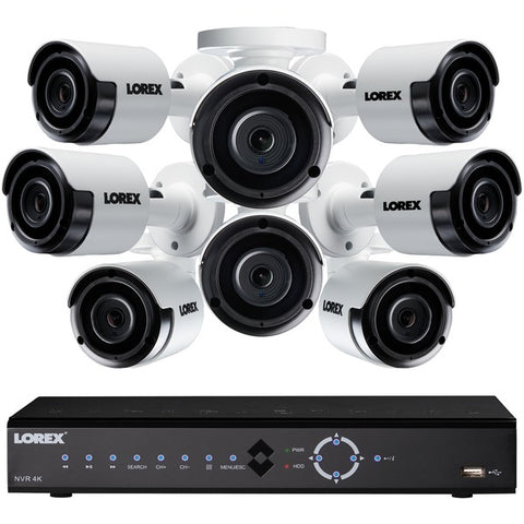 Lorex LNK72163T85B 16-Channel 4K 3TB NVR with 8 5-Megapixel Color Night Vision Indoor-Outdoor Security Cameras