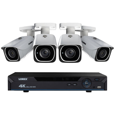 Lorex LNR610824KB 8-Channel 4K HD 2TB NVR with Four 4K Bullet Security Cameras