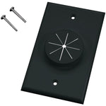 Midlite(r)   1GBK GR1 Single Gang Wireport(TM) Wall Plate with Grommet (Black)