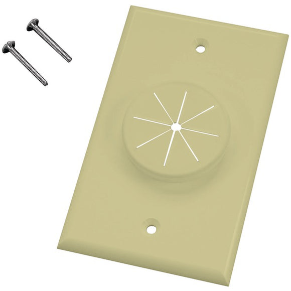 Midlite MIDLITE 1GIV GR1 Single Gang Wireport(TM) Wall Plate with Grommet (Ivory)