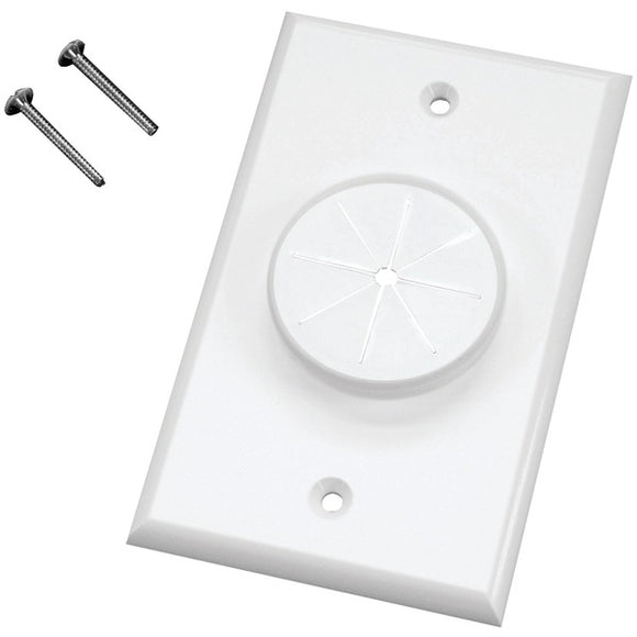 Midlite MIDLITE 1GWH GR1 Single Gang Wireport(TM) Wall Plate with Grommet (White)