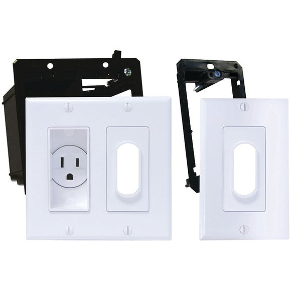 Midlite MIDLITE 2A4641 1G W Decor Recessed Receptacle Kit & Wireport(TM) with Grommet