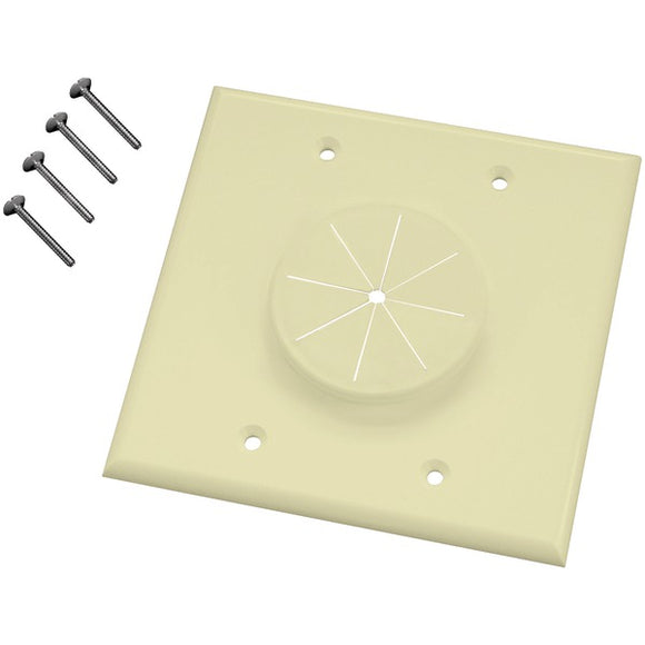 MIDLITE 2GAL-GR2 Double-Gang Wireport Wall Plate with Grommet (Almond)