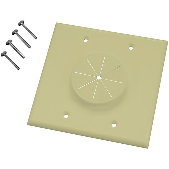 MIDLITE 2GIV-GR2 Double-Gang Wireport Wall Plate with Grommet (Ivory)