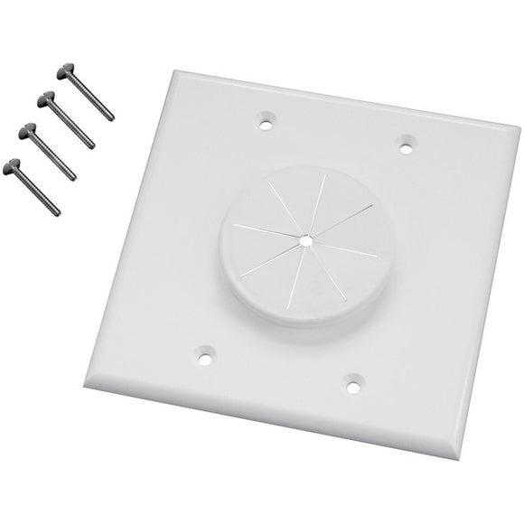 Midlite MIDLITE 2GWH GR2 Double Gang Wireport(TM) Wall Plate with Grommet (White)
