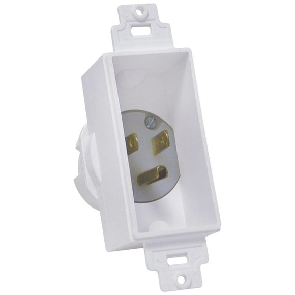 Midlite MIDLITE 4642 W Single Gang Decor Recessed Power Inlet (White)