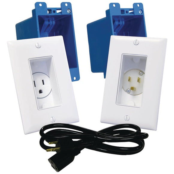 MIDLITE A46-W Decor Recessed Receptacle & Power Inlet Kit (White)