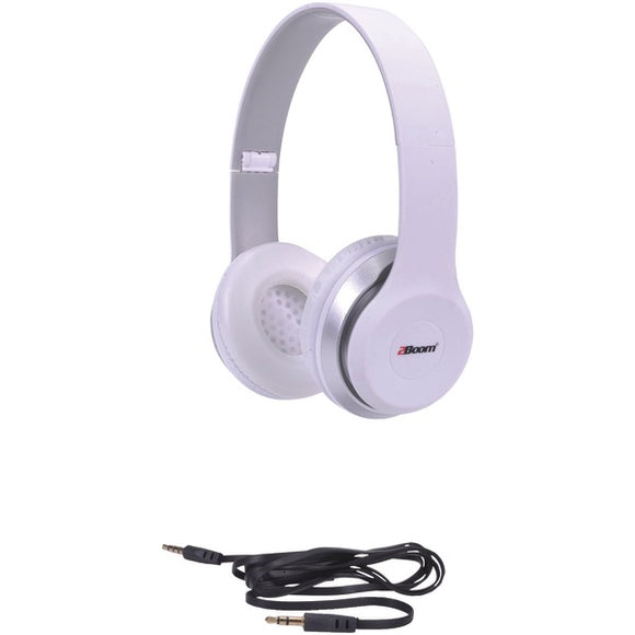 2boom hpm340w spin master rubberized dj headphones with microphone white
