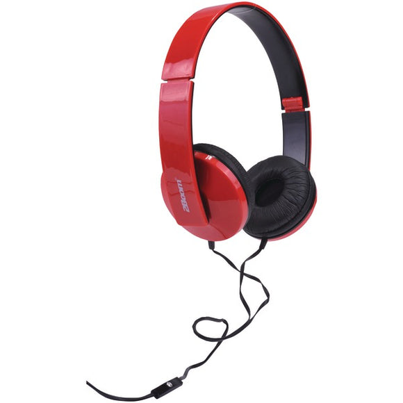 2boom hpm520r solo note headphones with microphone red