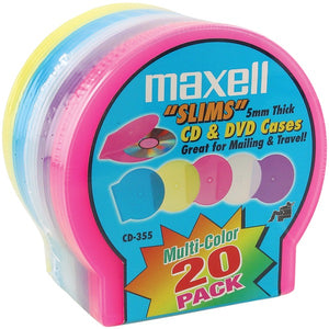Maxell 190073 Slim CD-DVD Jewel Cases, 20 pk (Assorted Colors)