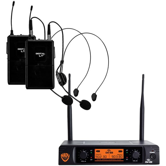 Nady Nady DW 22 HM ANY Dual Transmitter Digital Wireless Microphone System (2 Digital LT HM 3 Headsets)