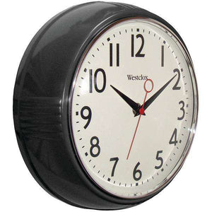 "Westclox(R) 32042BK 9.5"" 1950's Retro Black Case Convex Glass Clock"