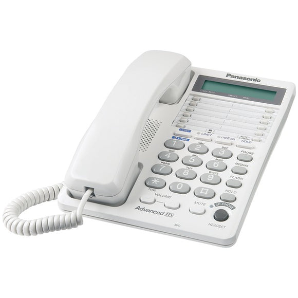 Panasonic Panasonic KX TS208W Integrated Corded 2 Line Telephone System with Hearing Aid Compatibility & 16 Digit LCD