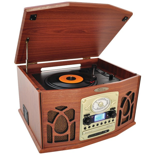 Pyle Home Pyle Home PTCDS7UBTBW Bluetooth Retro Vintage Classic Style Turntable Vinyl Record Players with Vinyl to MP3 Recording (Wood)