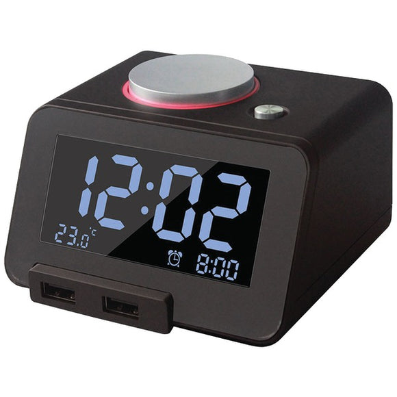 Homtime 19302 C1Pro Bluetooth(R) Alarm Clock with Dual USB Chargers (Black)