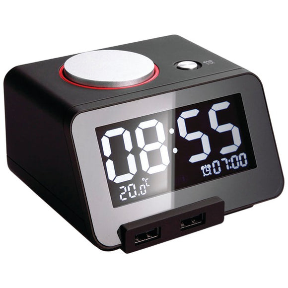 Homtime 19305 C1 Alarm Clock with Dual USB Charging Ports (Black)