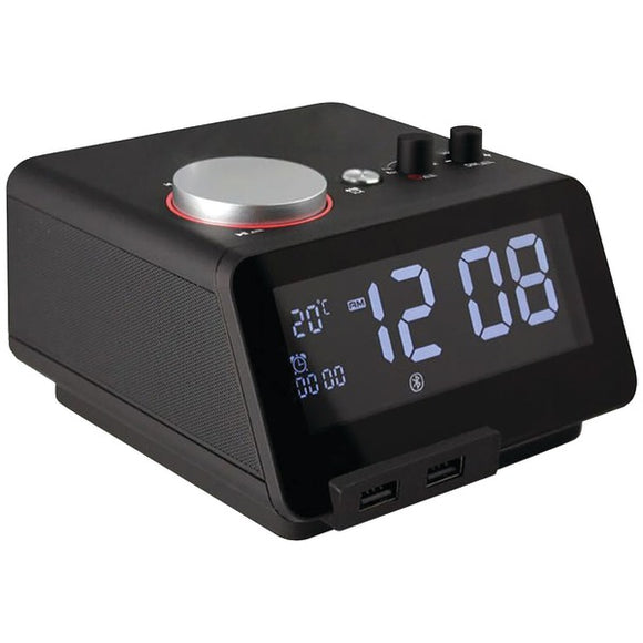 Homtime 19307 C12 Bluetooth(R) Alarm Clock with Dual USB Charging Ports (Black)