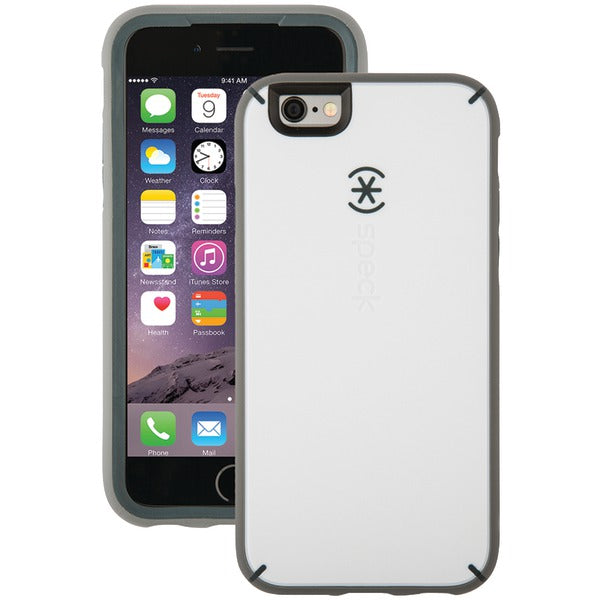 Speck 73801-C118 MightyShell Case for iPhone 6-6s (White-Charcoal Gray-Slate Gray)