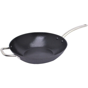 "Starfrit(R) 32154-006-HELP 11"" Light Cast Iron Fry Pan with Helper Handle"