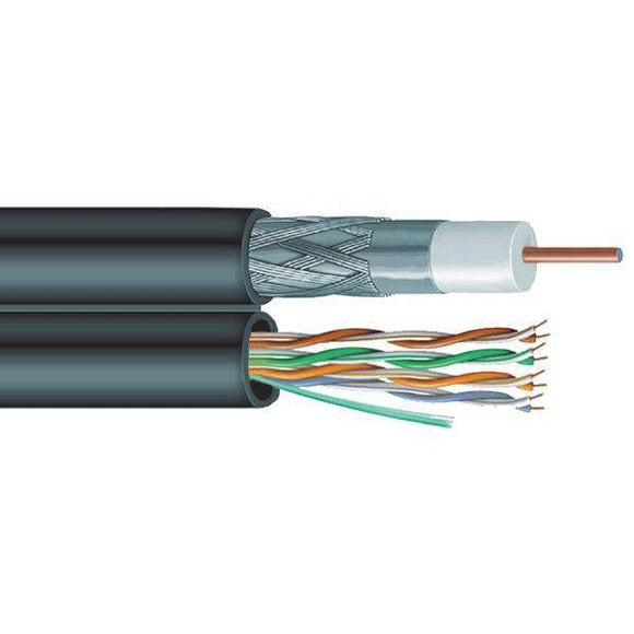 Vextra V6C5E Siamese RG6 Coaxial-CAT-5E Cable, 1,000ft